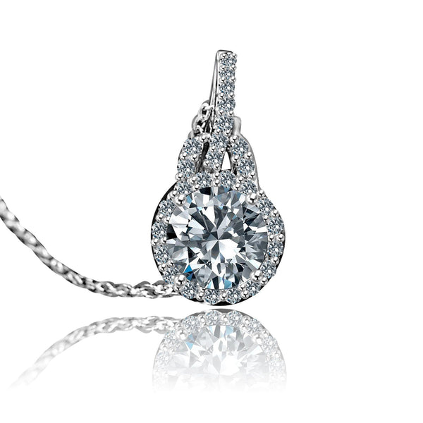 0.75 CT. Intensely Radiant Round Diamond Veneer Cubic Zirconia with Halo Setting Sterling Silver Double Bail Pendent. 635P25367 - Diamond Veneer Jewelry