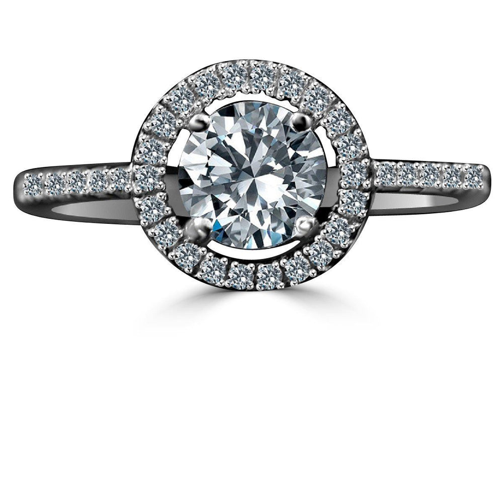 0.75 CT. Intensely Radiant Round Diamond Veneer Cubic Zirconia with Halo Settings Sterling Silver Ring. 635R207