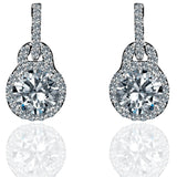 0.75 CT Diamond Veneer Cubic Zirconia  Solitare Sterling Silver Earrings - Diamond Veneer Jewelry