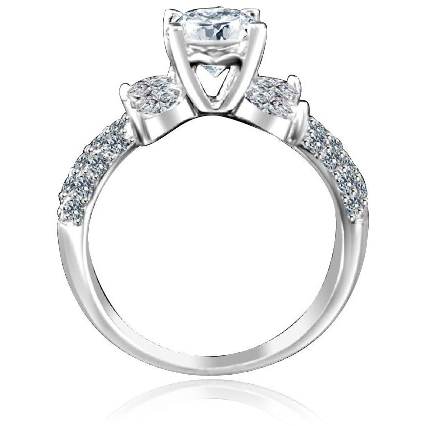 0.75 CT.(6mm) Intensely Radiant Round Centered Diamond Veneer Cubic Zirconia Engagement/Wedding Sterling Silver Ring. 635R3228 - Diamond Veneer Jewelry