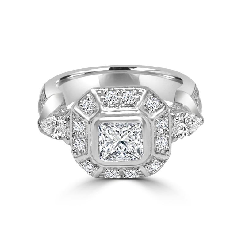 0.75CT Cushion Square Diamond Veneer Cubic Zirconia Sterling silver Ring. 635R12551