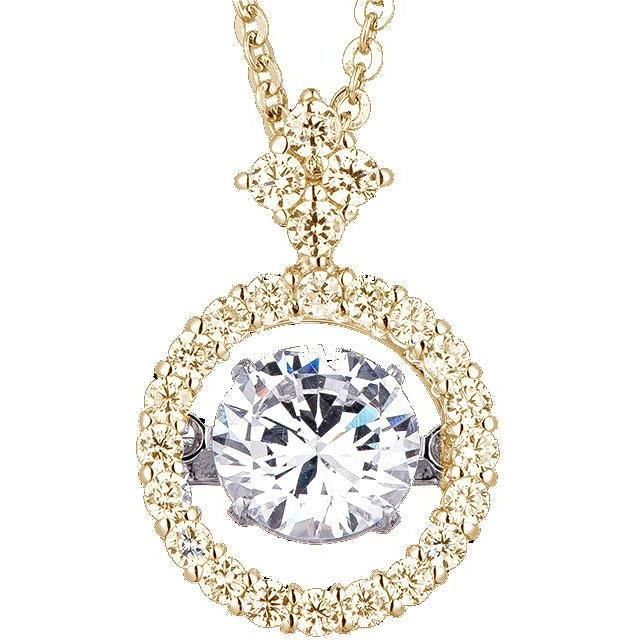 Dancing Diamond Veneer Cubic zirconia Sterling silver Pendant. - Diamond Veneer Jewelry