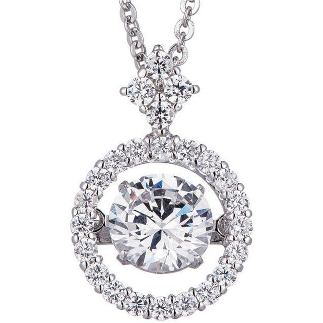 0.75CT intensely Radiant Round Dancing Diamond Veneer Cubic Zirconia Sterling Silver Pendant. 635P217 - Diamond Veneer Jewelry