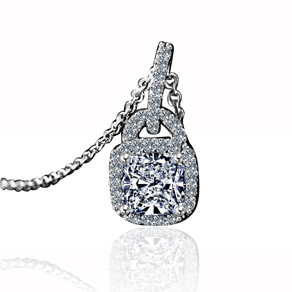 1 CT. Intensely Radiant Cushion Square Diamond Veneer Cubic Zirconia Double Bail Halo Sterling Silver Pendant. 635P25368 - Diamond Veneer Jewelry
