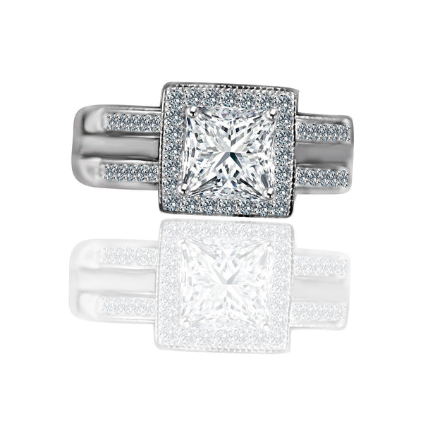 1 CT. Intensely Radiant Princess Cut Square Diamond Veneer Cubic Zirconia with Halo Ring Housed in a Double Band Jacket Sterling Silver Engagement/Wedding Ring. 635R4012 - Diamond Veneer Jewelry