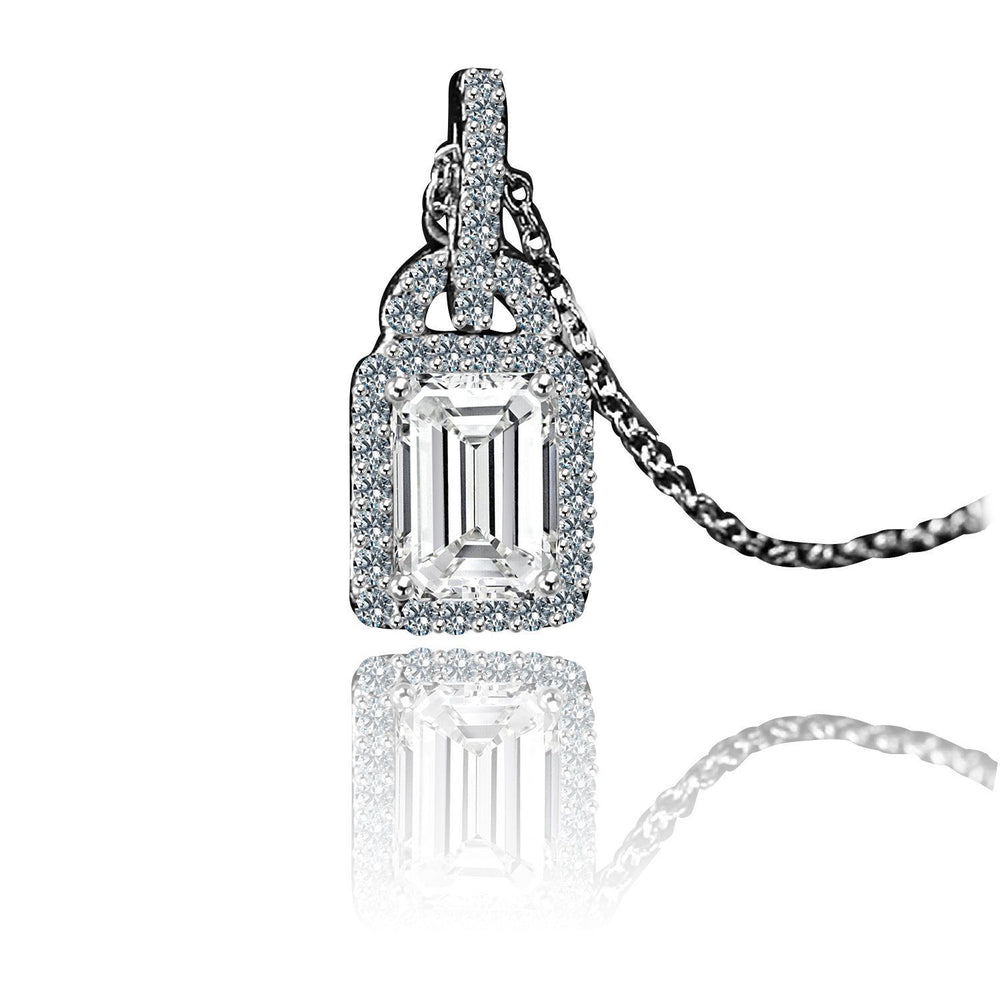 1 CT. Intensely Radiant Rectangle Cut Diamond Veneer Cubic Zirconia Center Double Bail Sterling Silver Pendant. 635P25366 - Diamond Veneer Jewelry
