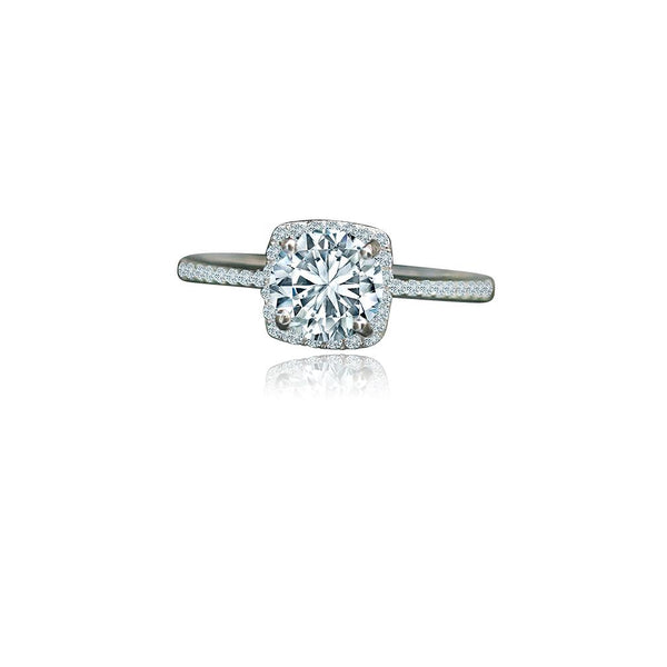 1 CT. Intensely Radiant Round Diamond Veneer Cubic Zirconia Center Set in Sterling Silver with platinum Electroplate Halo Ring. 635R202 - Diamond Veneer Jewelry
