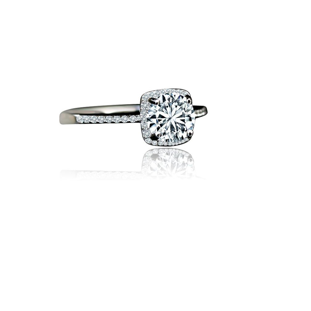1CT Round Diamond Veneer Cubic Zirconia Sterling Silver Halo Ring. 635R202