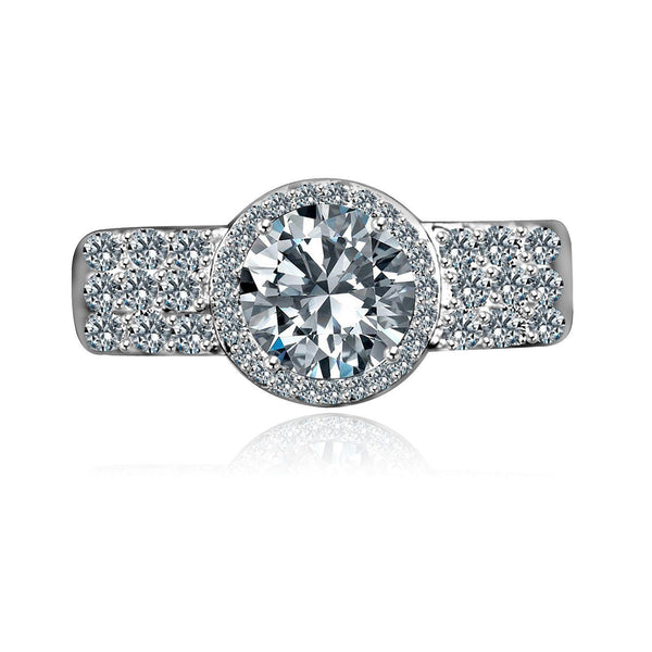 1 CT. Intensely Radiant Round Diamond Veneer Cubic Zirconia with Center Halo Settings Sterling Silver Engagement/Wedding Ring. 635R206 - Diamond Veneer Jewelry