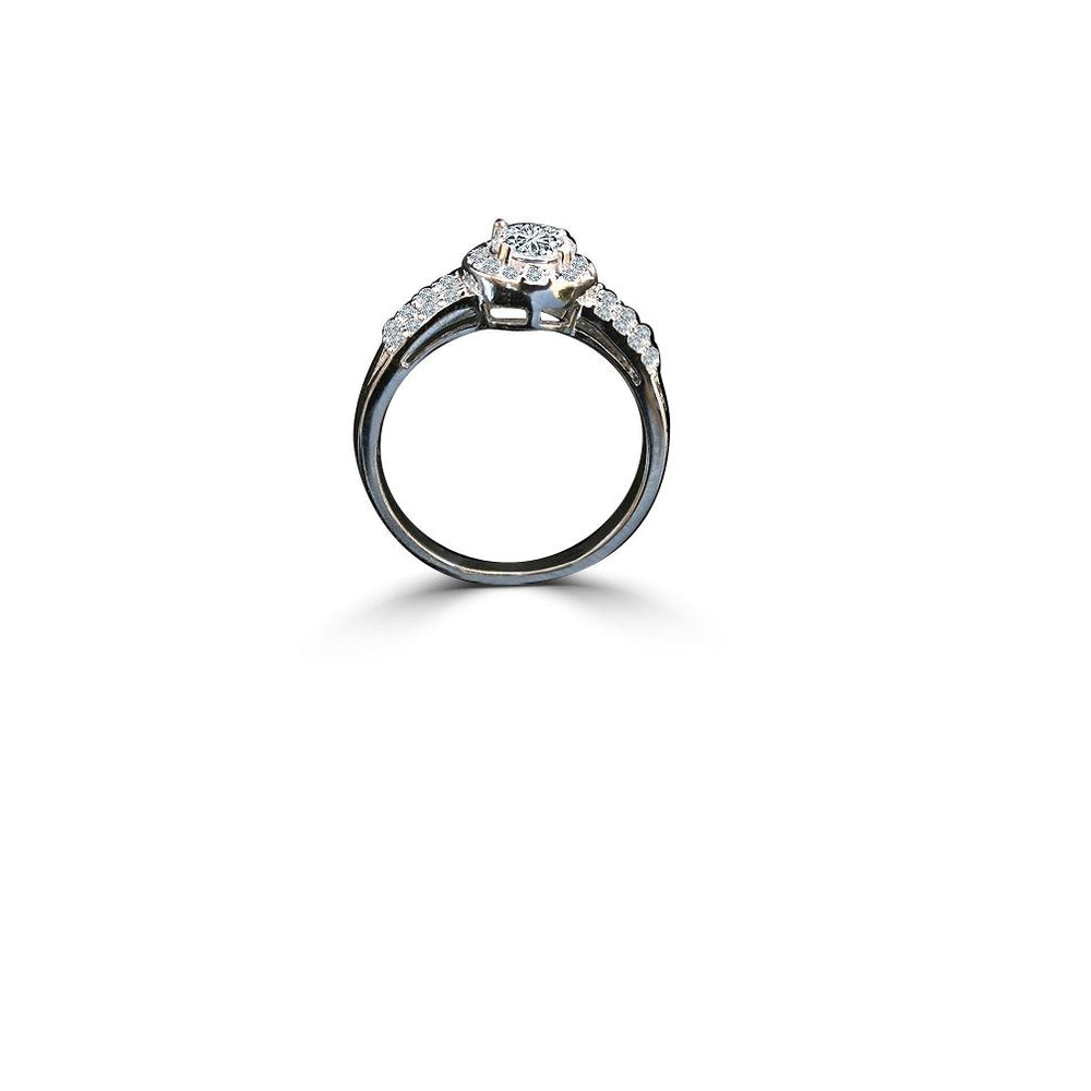 1 CT. Intensely Radiant Round Diamond Veneer Cubic Zirconia with Center Halo Settings Sterling Silver Engagement/Wedding Ring. 635R206