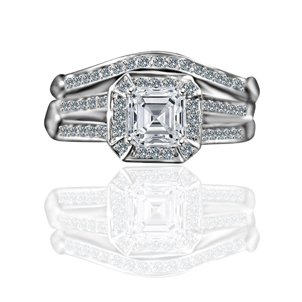 1 CT. Intensely Radiant Square Diamond Veneer Cubic Zirconia Wedding/Engagement Set Sterling Silver Ring. 635R71637 - Diamond Veneer Jewelry