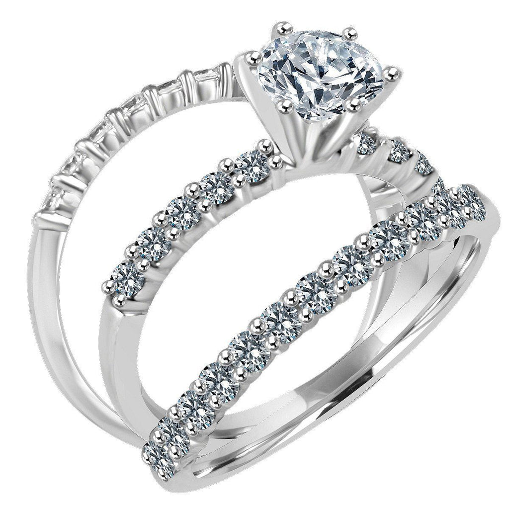 1 CT.(6.5mm) Intensely Radiant Round Diamond Veneer Cubic Zirconia Trio Wedding Ensemble Sterling Silver Rhodium Engagement Ring. 635R71359 - Diamond Veneer Jewelry