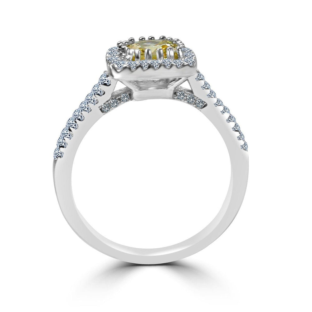 1 CT.(6x6mm) Intensely Radiant Square Cushion Center Diamond Veneer Cubic Zirconia with Halo Pave Set in Sterling Silver Modern Style Ring. 635R0251 - Diamond Veneer Jewelry