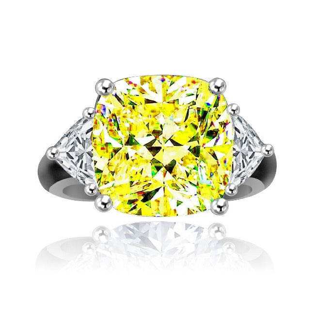 10 CT.(12x12mm) Intensely radiant Cushion square Center Diamond Veneer Cubic Zirconia set in Solid 14K Gold Ring. 635R71199k - Diamond Veneer Jewelry