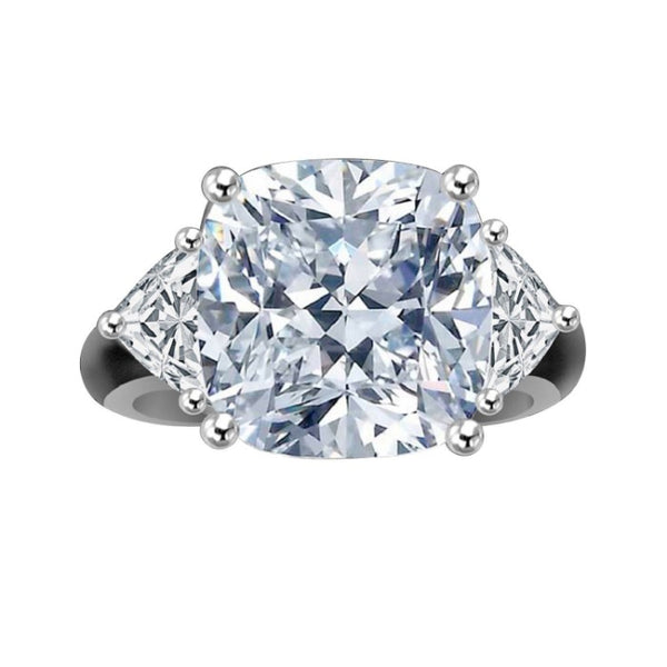 10 CT.(12x12mm) Intensely Radiant Cushion square Center Diamond Veneer Cubic Zirconia Sterling Silver Ring. 635R71199 - Diamond Veneer Jewelry