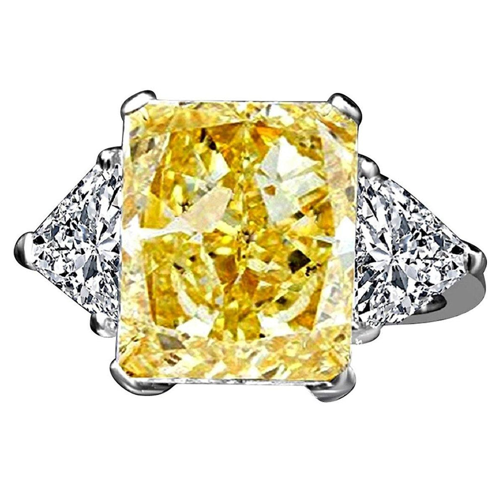 10CT Radiant Diamond Veneer Cubic zirconia Set in14K Gold Ring. 635R71337K - Diamond Veneer Jewelry
