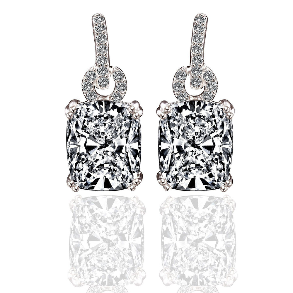 10CT TW Cushion Diamond Veneer Cubic Zirconia Sterling Silver Earrings. 635E10784