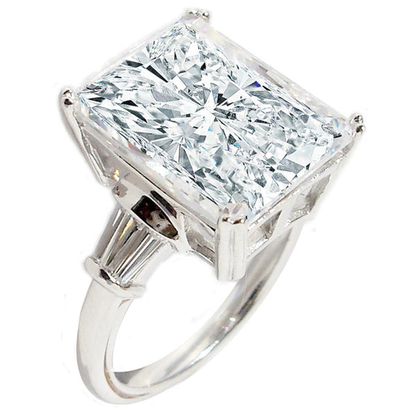 10CT intensely Radiant Rectangular Diamond Veneer Cubic Zirconia Engagement/Wedding Sterling Silver Ring 635R71507 - Diamond Veneer Jewelry