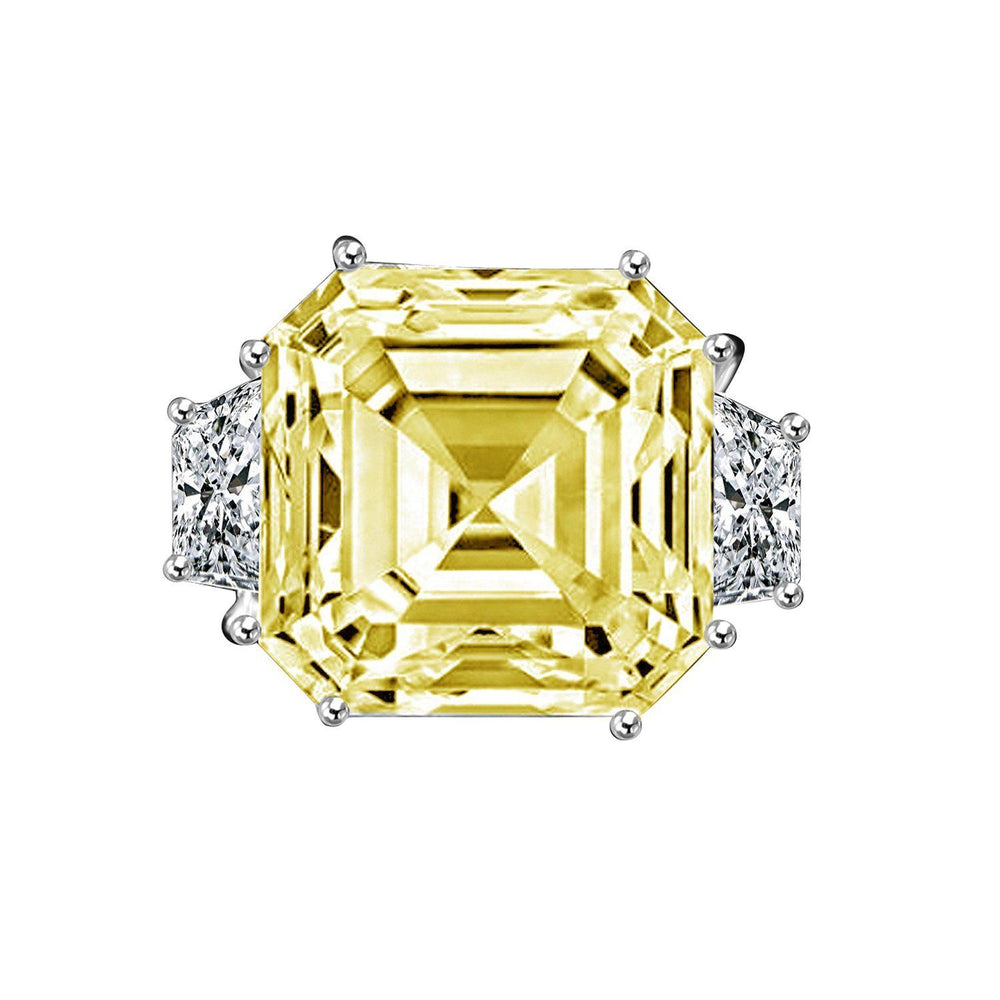 12 CT. Intensely Radiant Asscher Cut Diamond Veneer Cubic Zirconia with side Baguettes Vintage Style Sterling Silver Ring. 635R71577