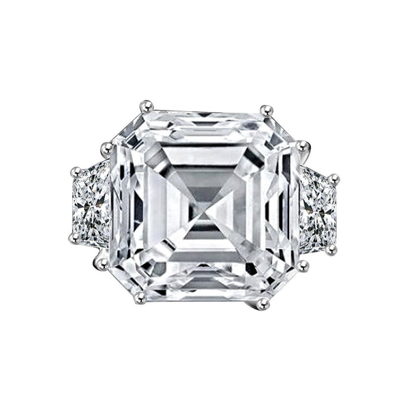 12 CT. Intensely Radiant Asscher Cut Diamond Veneer Cubic Zirconia with side Baguettes Vintage Style Sterling Silver Ring. 635R71577 - Diamond Veneer Jewelry