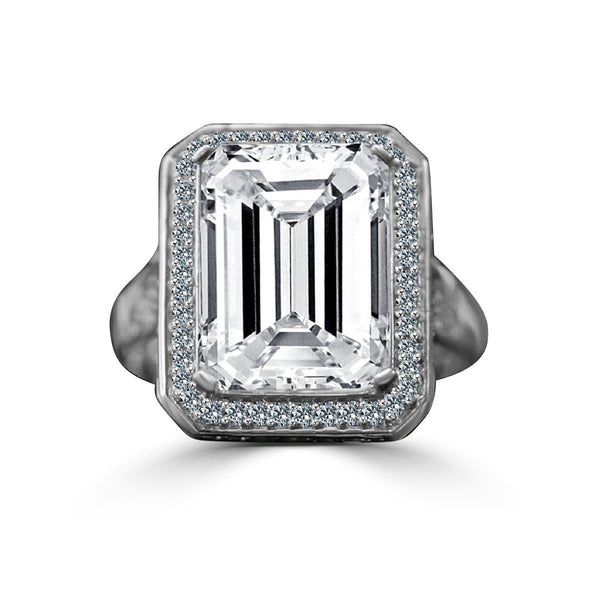 12 CT. Intensely Radiant Emerald Cut Diamond Veneer Cubic Zirconia Important Vintage Micro Pave Halo Sterling Silver Cocktail/Engagement/Wedding Ring. 635R75006 - Diamond Veneer Jewelry