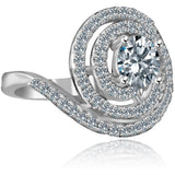 1/2 CT. Intensely Radiant Round Diamond Veneer Cubic Zirconia with Halo Stylish Swirl Floating Sterling Silver Ring. 635R3237 - Diamond Veneer Jewelry