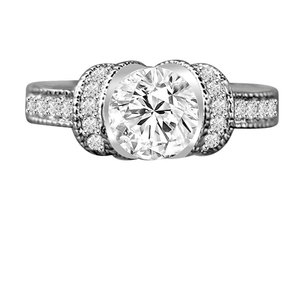 1.25 CT. Intensely Radiant Round Diamond Veneer Cubic Zirconia Classic Vintage Style Miligree Engagement/Wedding Sterling Silver Ring. 635R12826 - Diamond Veneer Jewelry