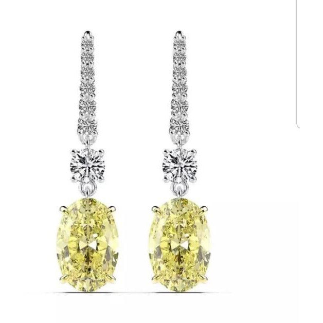 12CTW Oval intense Canary Diamond Veneer Cubic Zirconia Sterling Silver Wire Drop Earrings. 800E202