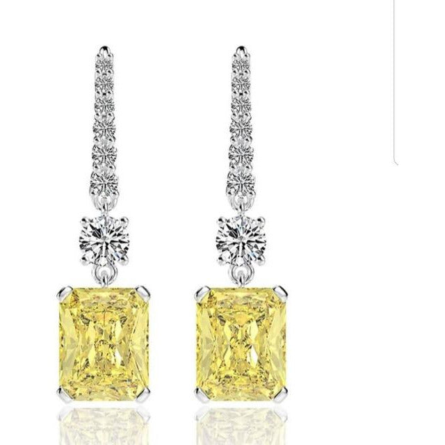 13CTW Radiant Emerald intense Canary Diamond Veneer Cubic Zirconia Sterling Silver Wire Drop Earrings. 800E203