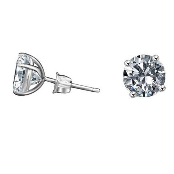 14K Gold Round Diamond Veneer Cubic zirconia CZ Stud Earrings - Diamond Veneer Jewelry