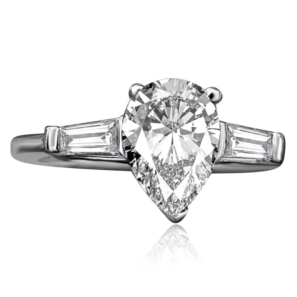 1.5 CT. Intensely Radiant Pear Diamond Veneer Cubic Zirconia Center (Side Baguette) Classic Style Sterling Silver Ring. 635R72032 - Diamond Veneer Jewelry