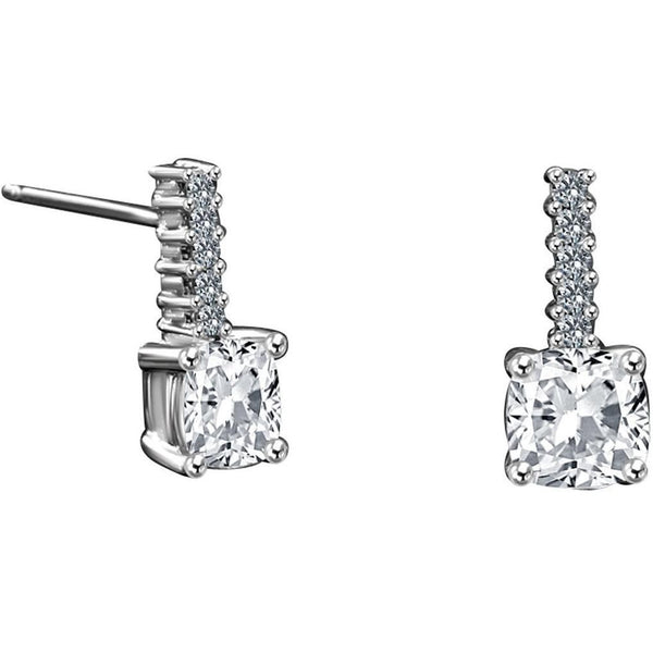 Sterling Silver Cushion Cut Stud Earring Set - Diamond Veneer Jewelry