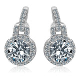 1.5CT  Round w/halo Diamond Veneer Cubic Zirconia Sterling Silver Earrings