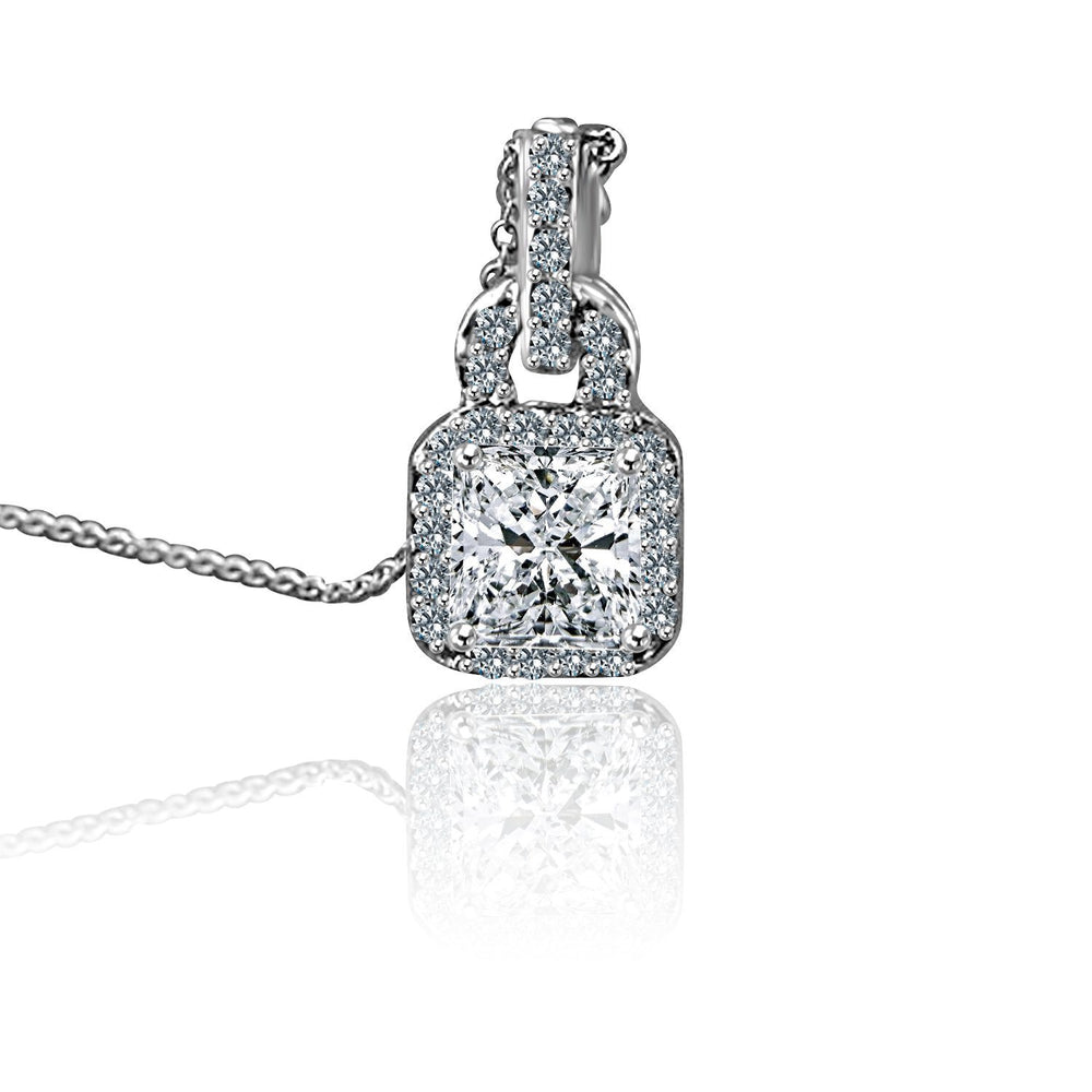 1.5 CT.(7X7mm) Intensely Radiant Square Diamond Veneer Cubic Zirconia Sterling Silver Pendant. 635P10738A - Diamond Veneer Jewelry