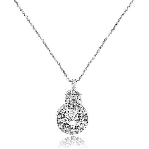 Intensely Radiant Round Diamond Veneer Cubic Zirconia double jeweled Bail Pendant. 635P3234 | Yaacov Hassidim