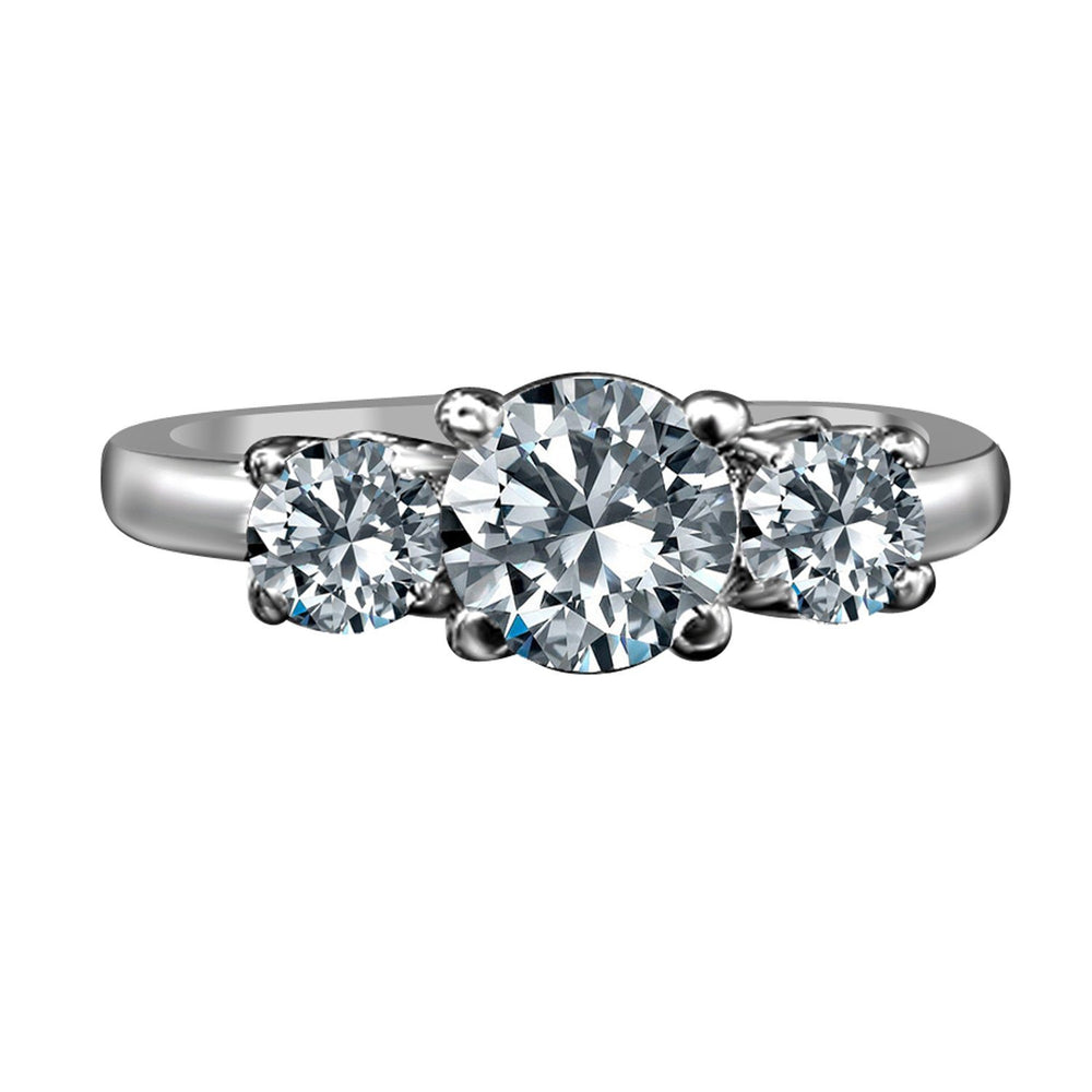 1.50 CT. TW(1 CT. Center) Intensely Radiant Round Three Stone Diamond Veneer Cubic Zirconia Ring Set in Sterling Silver. 635R71646 - Diamond Veneer Jewelry