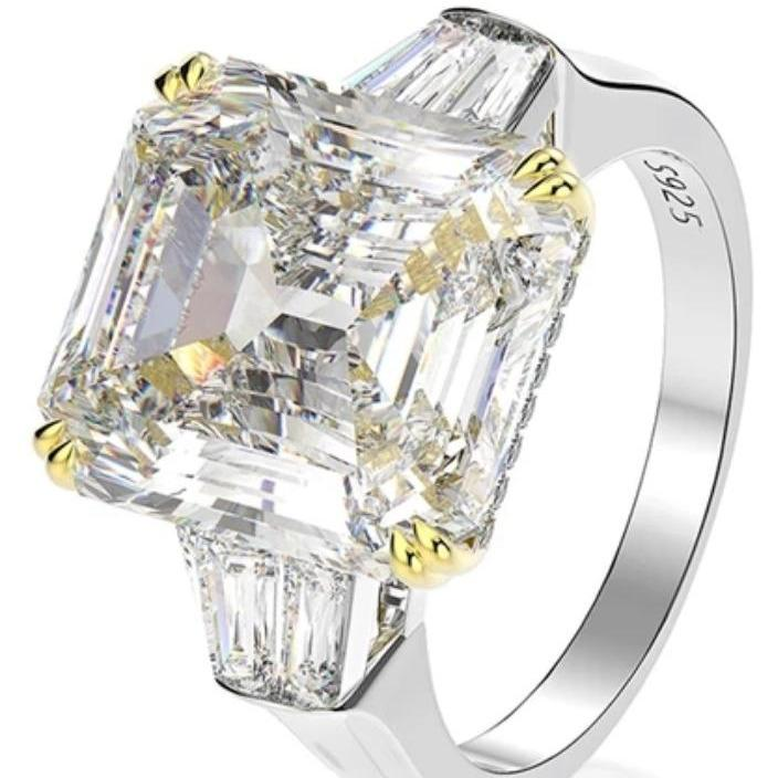 15CT intensely brilliant Asscher Diamond Veneer Cubic Zirconia Sterling Silver three stone new Ring