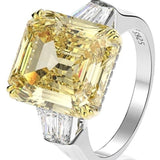 15CT intensely brilliant Canary Asscher Diamond Veneer Cubic Zirconia Sterling Silver three stone new Ring