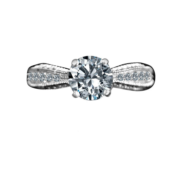 1.5CT Intensely Radiant Round Solitaire Diamond Veneer Cubic Zirconia   Sterling Silver Engagement/Wedding Ring. 635R4007 - Diamond Veneer Jewelry