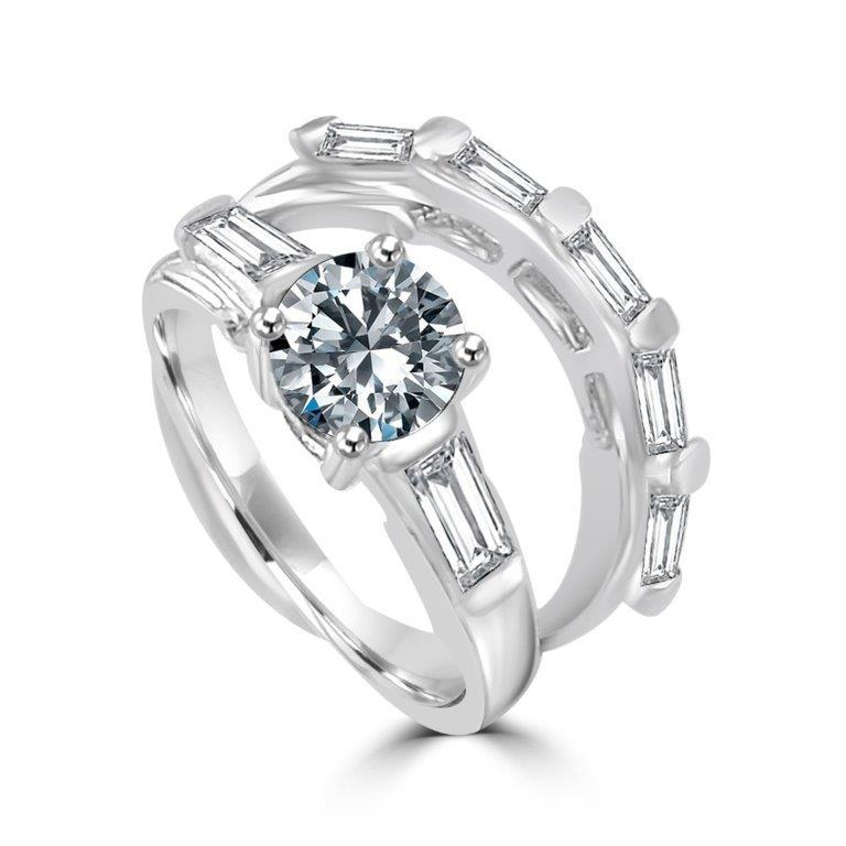 1CT Round Diamond Veneer Cubic zirconia Sterling silver new Ring Set - Diamond Veneer Jewelry