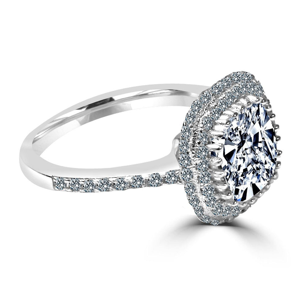 2 CT. Cushion Diamond Veneer Cubic Zirconia Halo Sterling Silver Ring. - Diamond Veneer Jewelry