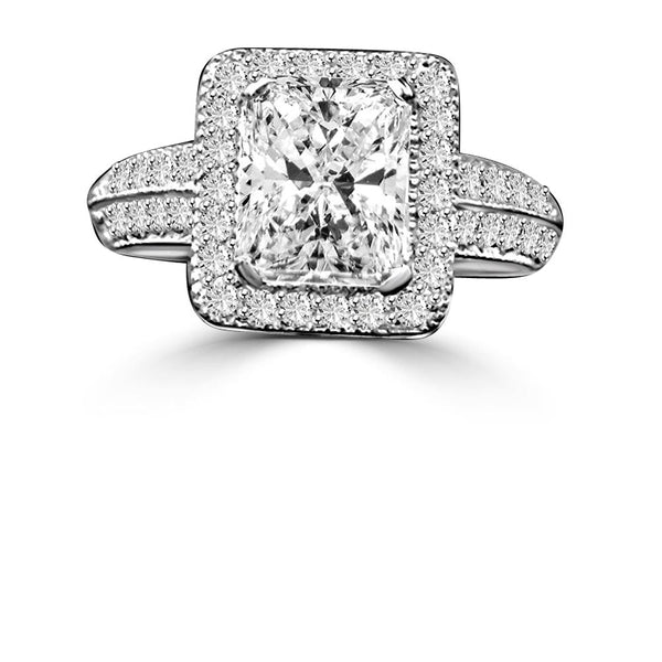 2 CT. Intensely Radiant Emerald Shape Diamond Veneer Cubic Zirconia with Halo Micro-pave Settings Sterling silver Vintage Style Ring. 635R12825 - Diamond Veneer Jewelry