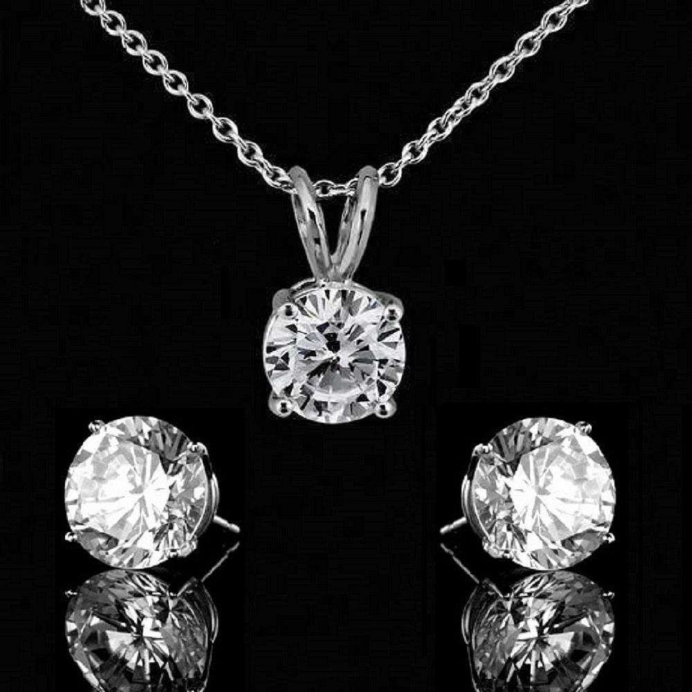 2 CT. Intensely Radiant Round Cut Diamond Veneer Cubic Zirconia Bail Solitaire Pendant & 4 CT. Diamond Veneer Cubic Zirconia Sterling Silver Stud Earrings. 635P200A/635E400 - Diamond Veneer Jewelry