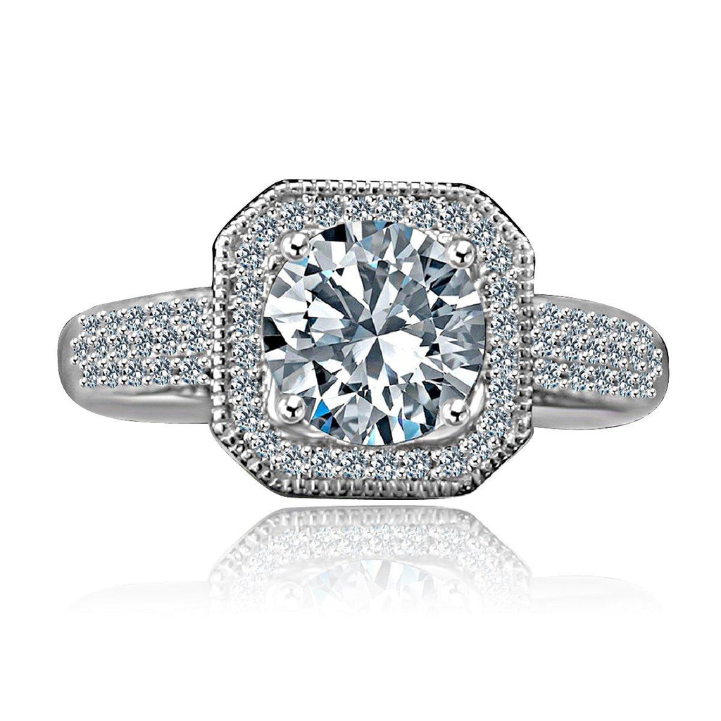 2 CT Intensely Radiant Round Diamond Veneer Cubic Zirconia Stunning Micro pave Halo Engagement Fully Pave Upper Shank Sterling Silver Ring. 635R4002 - Diamond Veneer Jewelry