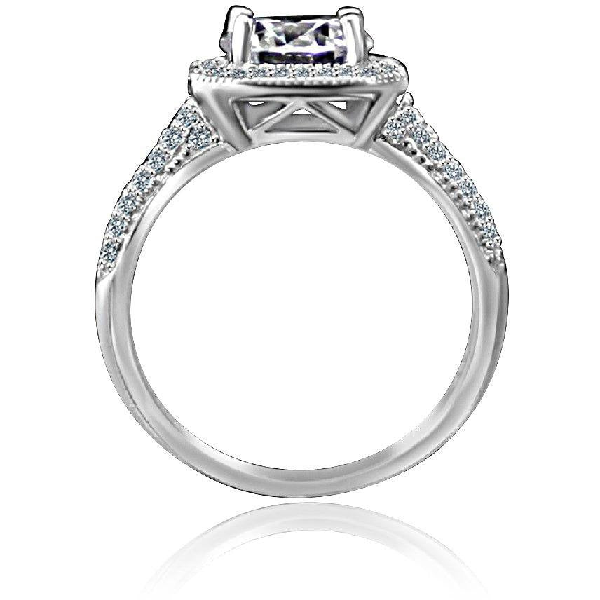 2CT Intensely Radiant Round Diamond Veneer Cubic Zirconia Stunning Micro pave Halo Engagement Fully Pave Upper Shank Sterling Silver Ring2. 635R4002 | Yaacov Hassidim