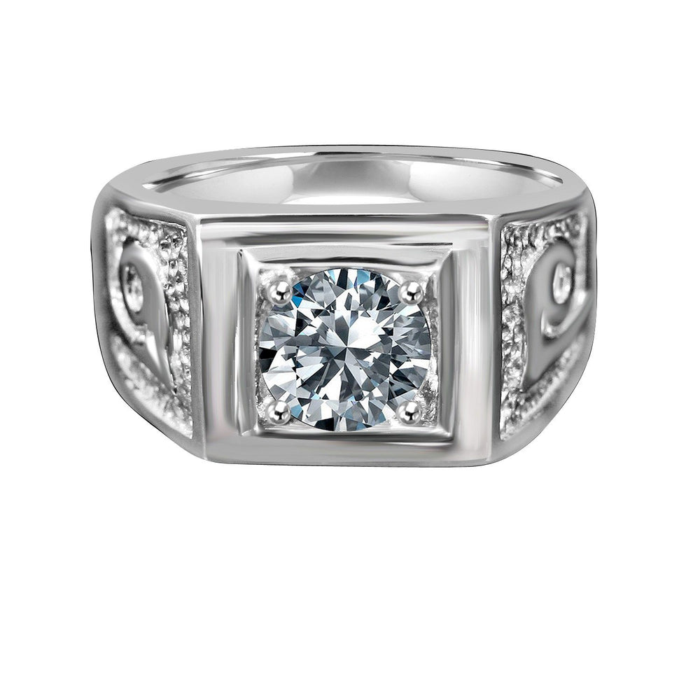 2 CT Intensely Radiant Round Diamond Veneer Cubic Zirconia Wide Band Featuring in Fine Stainless Steel with Textured Side Shoulders Man ring. 635R1003 - Diamond Veneer Jewelry