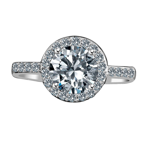 2 CT. Intensely Radiant Round Diamond Veneer Cubic Zirconia with Halo Setting Sterling Silver Engagement/Wedding Ring. 635R200 - Diamond Veneer Jewelry