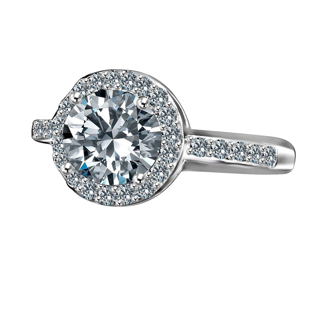 2CT Round Diamond Veneer Cubic Zirconia Halo Sterling Silver Ring. 635R200 - Diamond Veneer Jewelry