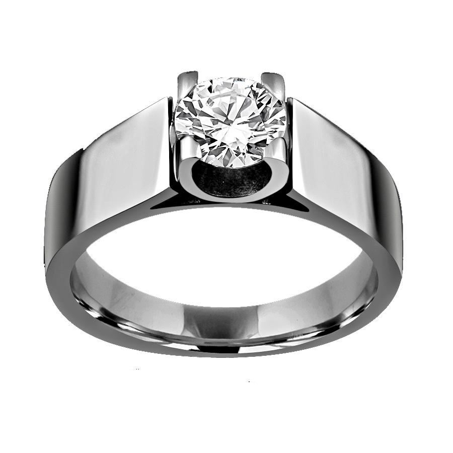 2 CT.(8mm) Intensely Radiant Round Diamond Veneer Cubic Zirconia Modern Tension style Stainless Steel Man Ring. 635R1061 - Diamond Veneer Jewelry