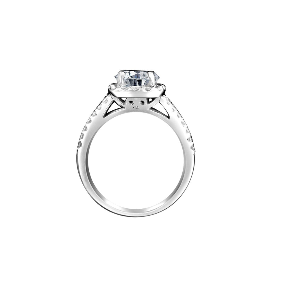 2 CT.(8mm) Intensely Radiant Round Diamond Veneer Cubic Zirconia Split Shank Square Halo Set in Sterling Silver Engagement/Wedding Ring. 635R4009 - Diamond Veneer Jewelry